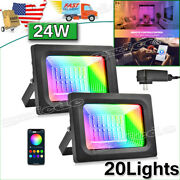 20x 24w Rgb Flood Lights Outdoor Garden Color Changing Led Security Lamp Remote