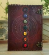 Embossed Leather Bound 7 Stone Journal, Writing Large Notebook, Diary With Lock