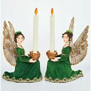 Katherine's Collection 2021 Evergreen Lane Angel Candle Holder, Set Of 2