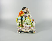 Herend Rococo Lover Pair Antique Handpainted Porcelain Figurine 1920and039s H002