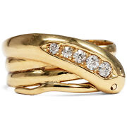 Dated 1912 Snakes Ring From 750 Gold And Diamonds Diamond England Serpent