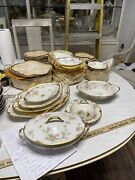 81 Pieces Of Theodore Haviland Limoges Pink Rose Floral Design With Gold Rim