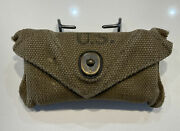Original 1942 Wwii U.s. Army First Aid Pouch M-1924 With Small Carlisle Packet