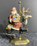 Vintage Bisque Santa Riding A Carousel Reindeer Figurine And Holding Toys - Cute