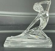 Art Deco Clear Semi Frosted Glass Nude Woman Statue Crystal