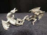 Vintage Lead Free Pewter Dragon Figurines With Red Crystal Eyes - Lot Of 2 -