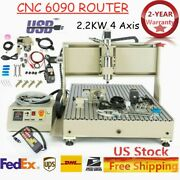 Usb 4 Axis Cnc 6090t Router Engraver 3d Carving Mill Machine 2200w W/handwheel