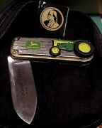 Franklin Mint John Deere1958 830 Tractor Collector Knife Tag Pouch