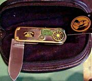 Franklin Mint John Deere Model 1928 Gp Tractor Collector Knife Tag Pouch