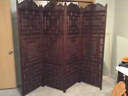 East India 4 Fold Antique Hand Carved Wooden Screen With Inlayed Brass Strips