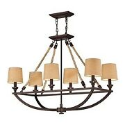 Six Light Chandelier Aged Bronze Finish With Tan Linen Shade - Chandelier -