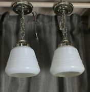 Pair Of Vintage Globe Shades White And Clear Glass With New Chrome Ceiling Light