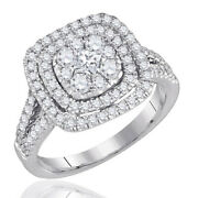 1.01ct Genuine Square Princess And Round Diamond Cluster Ring Solid 14k White Gold