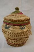 Vintage Large Makah Polychrome Covered Basket With Whaling And Bird Scenes