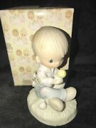 1981 New Precious Moments Figurine I Believe In Miracles Boy With Chick
