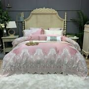 Premium Soft Silky Egyptian Cotton Europe Bedding Set Lace Duvet Cover Bed Sheet
