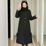 Winter Jacket Women Hooded Big Pockets Female Long Coat Breasted Stand Collar