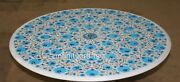36 Inch Marble Dining Table Top Inlay Turquoise Stones Unique Pattern Sofa Table