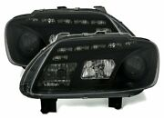 Offer Pair Headlights Led Drl Look Pour Vw Touran 03-06 Caddy Daylight Black Fr