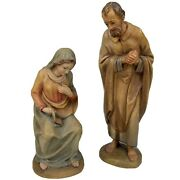Anri Kuolt Vtg Mary And Joseph Wood Hand Carved Nativity Figurine For 6 Set