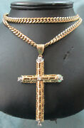 36.3 Grams Menand039s 10k Gold Cross With One 1 Carat Of Diamonds On 28 Gold Chain