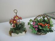 Dollhouse Miniature 112 Lot Flowers Basket And Hanging Plant Pansies