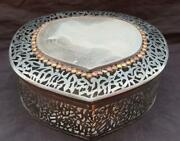 Islamic Pure Silver Hand Carved Box With Quran Calligraphy, Agate Studded On Top