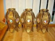 Old Brass Filigree Shade 4 Lamp- Chandelier With Aurora Jewels Crystal 1-3