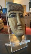 Ancient Egyptian Mummy Mask Of Carved Wood From The Late Period W/ Lucite Stand