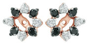 0.5 Ct Black And White Natural Diamond Starburst Earring Jackets In 14k Rose Gold