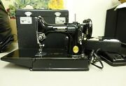 Vintage 1948-1950and039s Singer Featherweight 221 Sewing Machine W/ Case And Tray