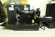 Vintage 1948-1950's Singer Featherweight 221 Sewing Machine W/ Case And Tray