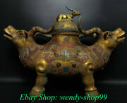 25 Antique Old China Bronze Ware Dynasty Double Bull Oxen Zun Incense Burner