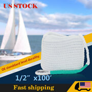 1/2x100and039 Twisted Braid Boat Marine Anchor Docking Line Mooring Rope W/thimble