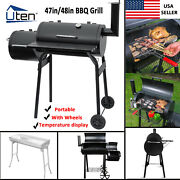 48 Outdoor Charcoal Pit Patio Backyard Meat Cooker Smoker Bbq Grill W/ Chimney