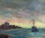Homebound Fishing Vessel Oil On Canvas Signed By Listed Artist Chris Benvie