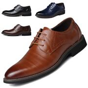 Mens Dress Leather Shoes Casual Oxfords Breathable Flats Wedding Party Formal Sz