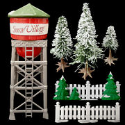 Dept 56 Christmas Snow Village Accessories / Water Tower / Metal Fence / Trees