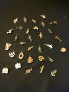 Vintage Lot Of 31 Metal Cracker Jack Gumball Prize Charms 1940s 1950s