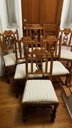 6pc Berkey And Gay Antique Art Nouveau Side Chairs And Arm Chair Style 5299
