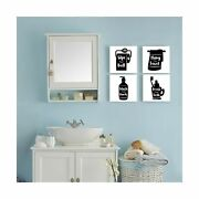 Gronda Black And White Bathroom Decor Funny Wall Art Wash Hand Signs Canvas P...
