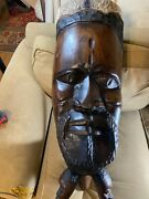 Large Stunning Antique West African Drum With Carved Figures -33.5.x 12.0 X 12.0