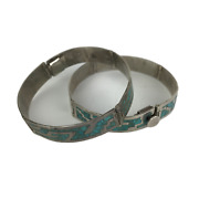 Vintage Sterling Silver Turquoise Native American Bangle Cuff Bracelets - Pair