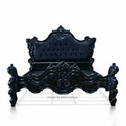 4and0396 Double Size Gothic Style Bed Carved Fr Mahogany Wood Baroque Rococo Style