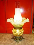 Fenton Vaseline Hobnail Opalescent Glass Lamp Old And Rare