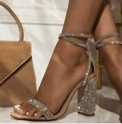 Women Crystal Heels Sandals Ankle-wrap Sexy Buckle Strap High Heel Sexy Shoes