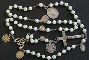 Vintage Mop And Sterling Highly Exceptional Catholic Rosary 8 Rare Antique Medals