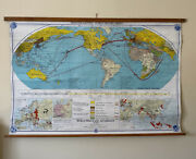 Vintage Roll Down Map Denoyer Geppert World History Series Wwii And Aftermath