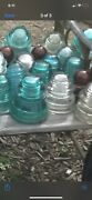 Old Electrical Line Insulators White Brown And Blue Glass Hemingray Total Of 15
