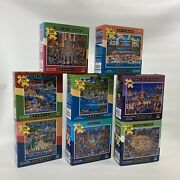 Lot Of 8 Dowdle Puzzle New Puzzles 1000 500 Piece Made Usa Beach Europe Holiday